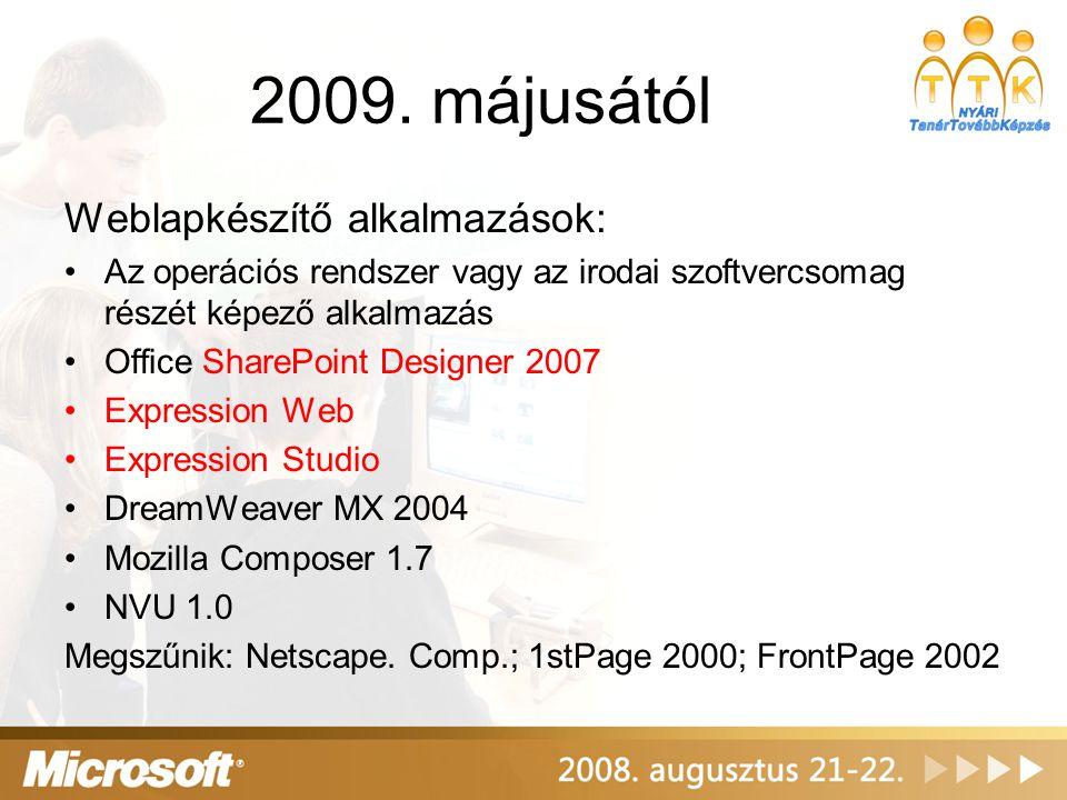 2009. májusától Weblapkészítő alkalmazások: