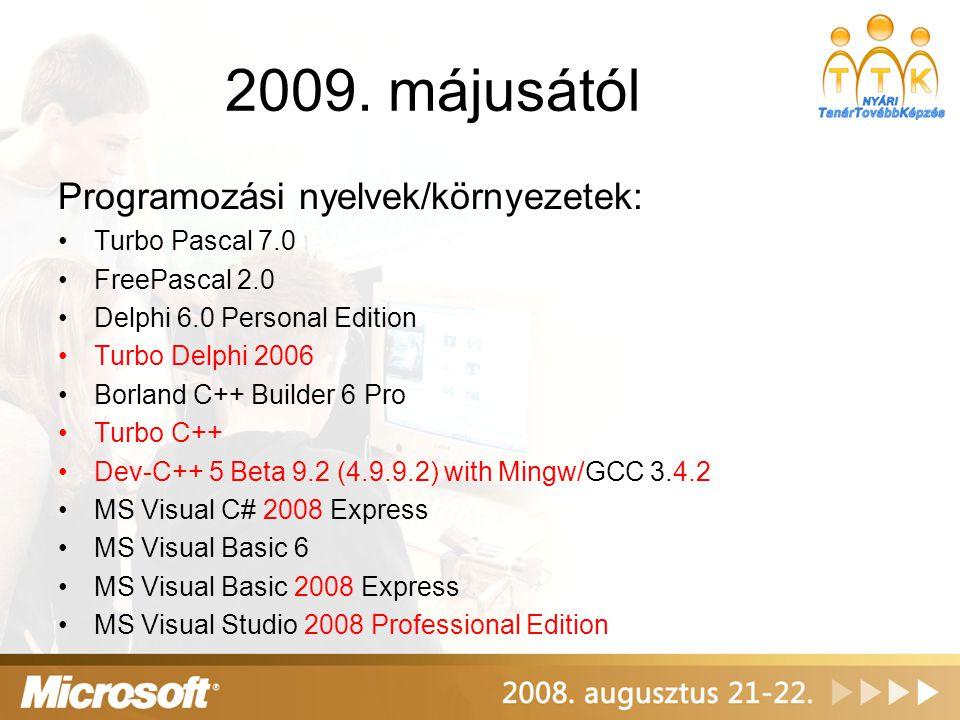 2009. májusától Programozási nyelvek/környezetek: Turbo Pascal 7.0