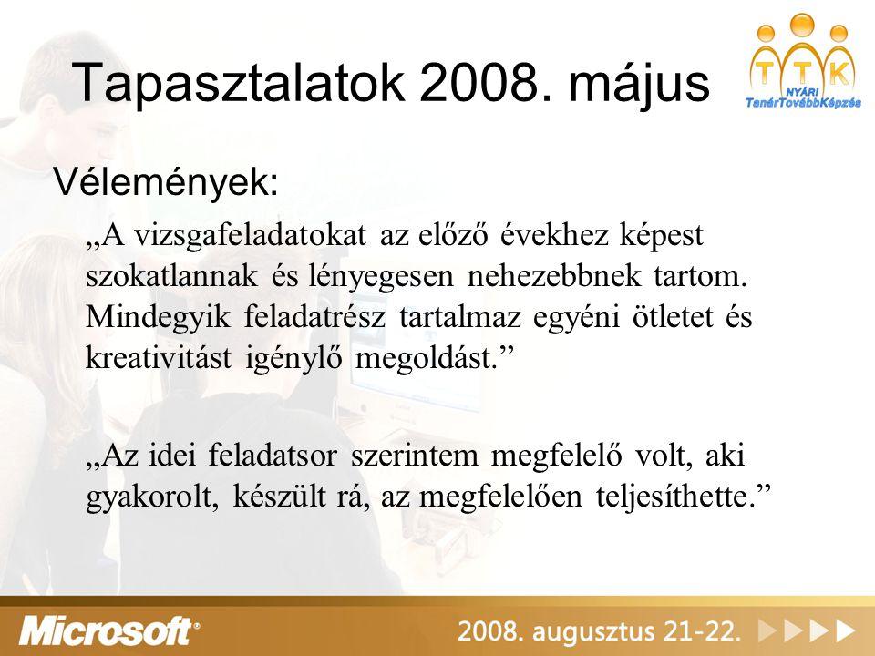 Tapasztalatok 2008. május Vélemények: