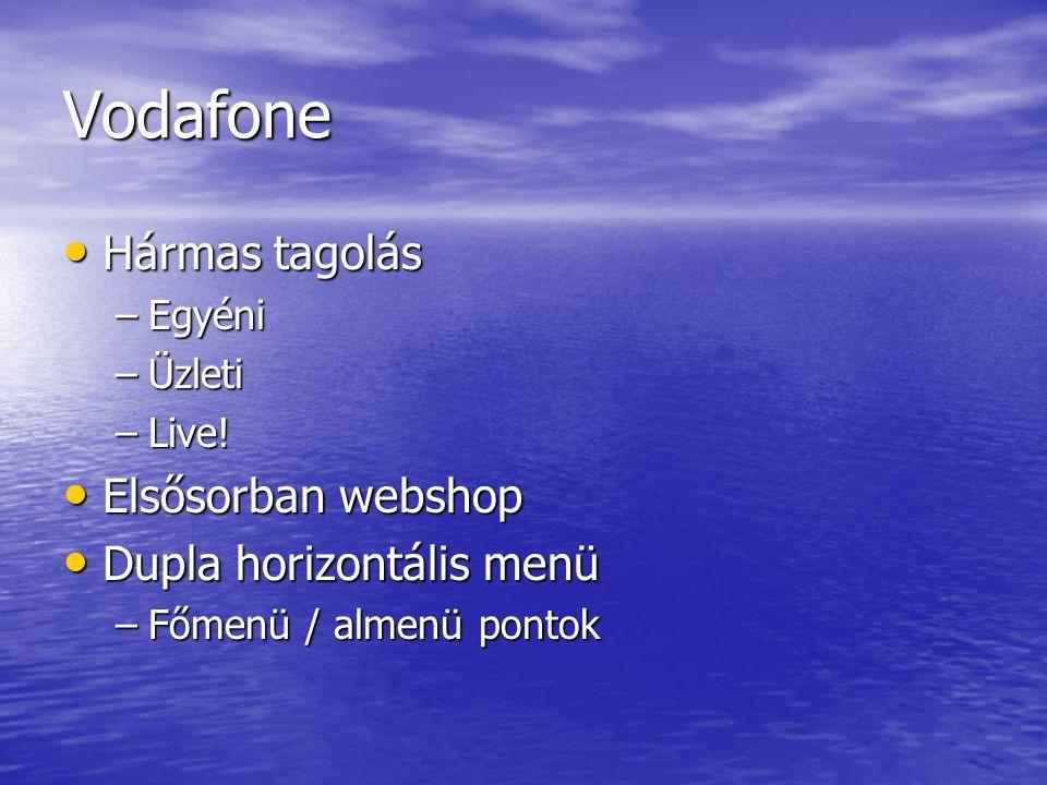 Vodafone Hármas tagolás Elsősorban webshop Dupla horizontális menü