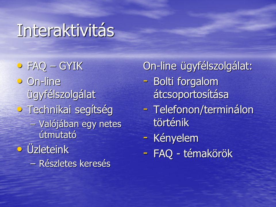 Interaktivitás FAQ – GYIK On-line ügyfélszolgálat Technikai segítség