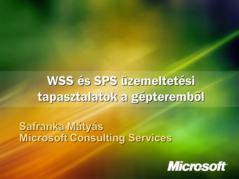 Safranka Mátyás Microsoft Consulting Services