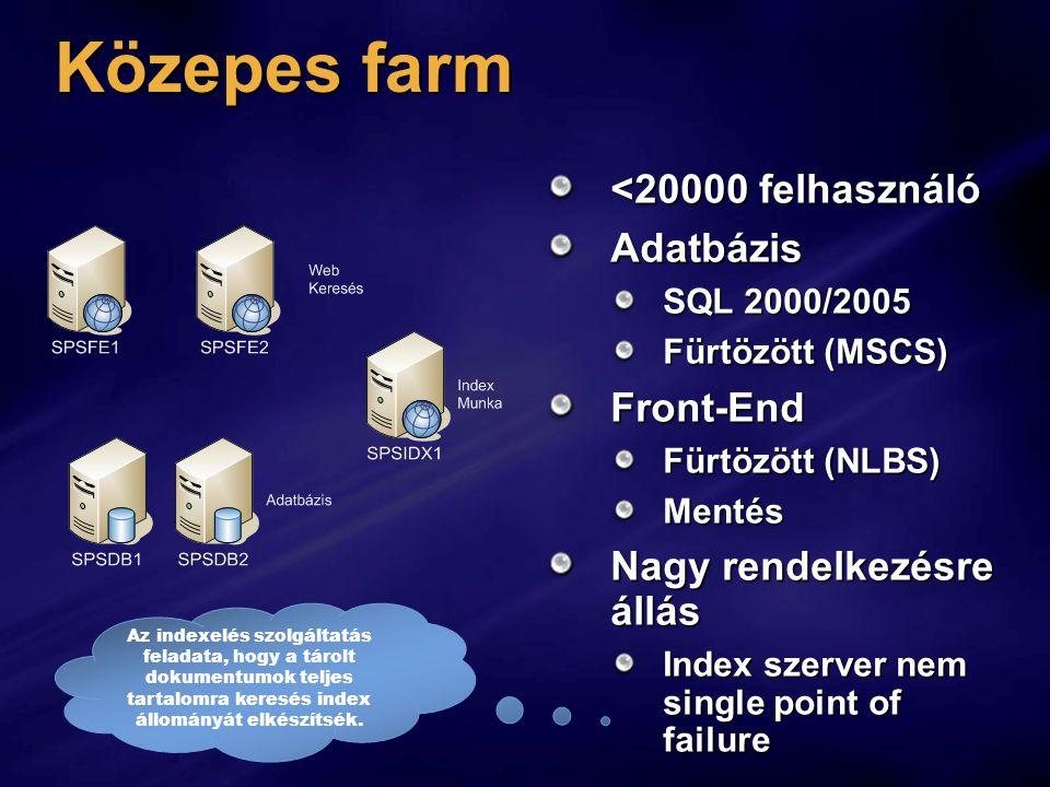 Közepes farm <20000 felhasználó Adatbázis Front-End