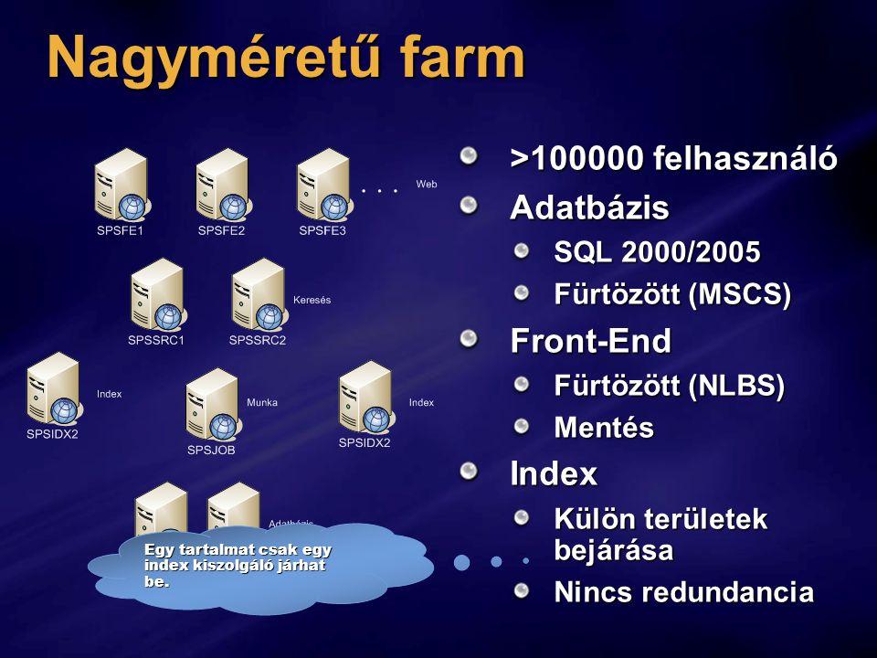 Nagyméretű farm >100000 felhasználó Adatbázis Front-End Index