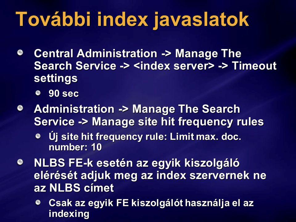 További index javaslatok