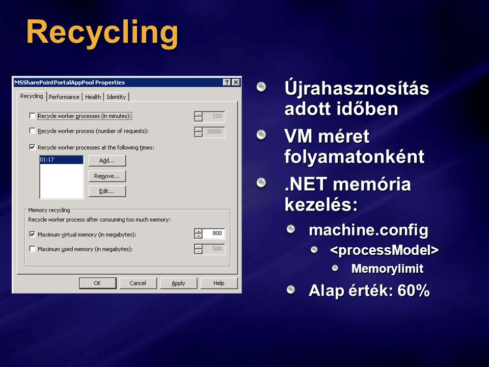 Recycling Újrahasznosítás adott időben VM méret folyamatonként