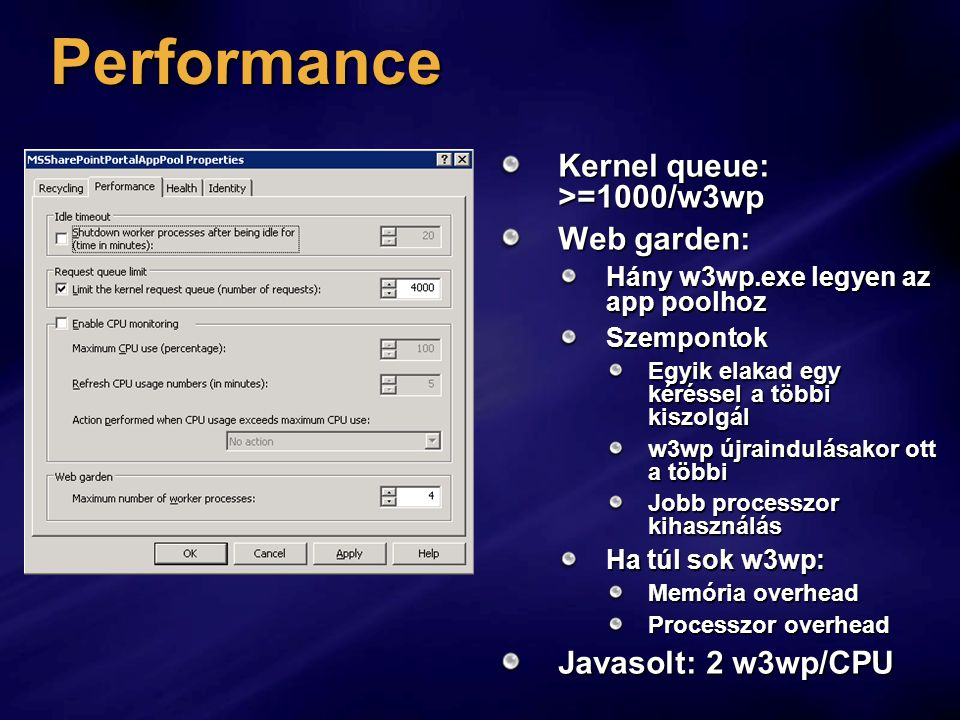 Performance Kernel queue: >=1000/w3wp Web garden: