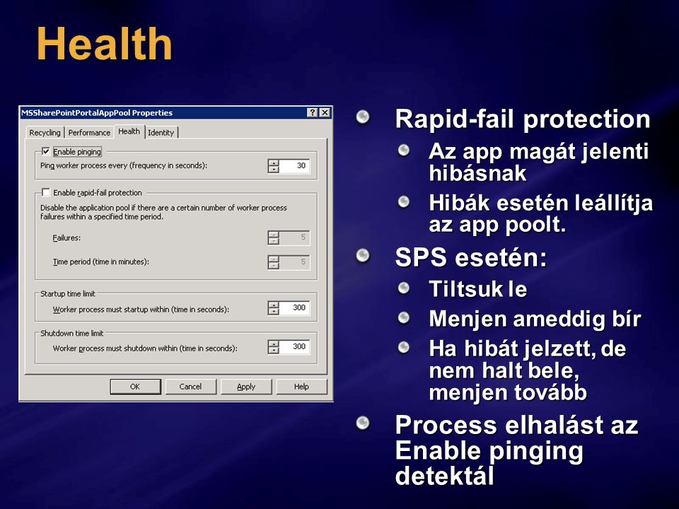 Health Rapid-fail protection SPS esetén: