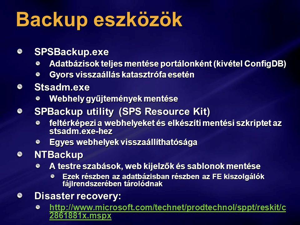Backup eszközök SPSBackup.exe Stsadm.exe