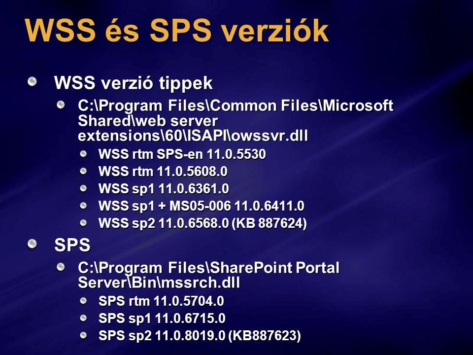 WSS és SPS verziók WSS verzió tippek SPS