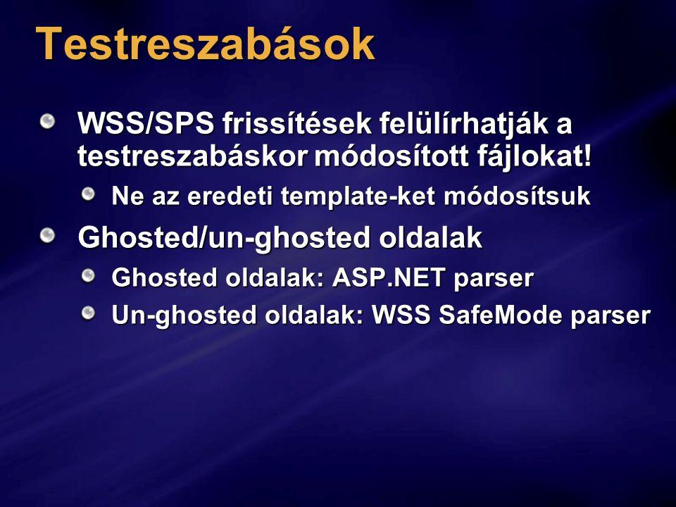 Testreszabások WSS/SPS frissítések felülírhatják a testreszabáskor módosított fájlokat! Ne az eredeti template-ket módosítsuk.