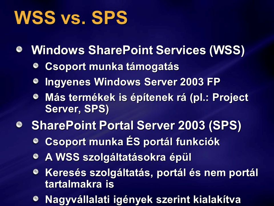 WSS vs. SPS Windows SharePoint Services (WSS)