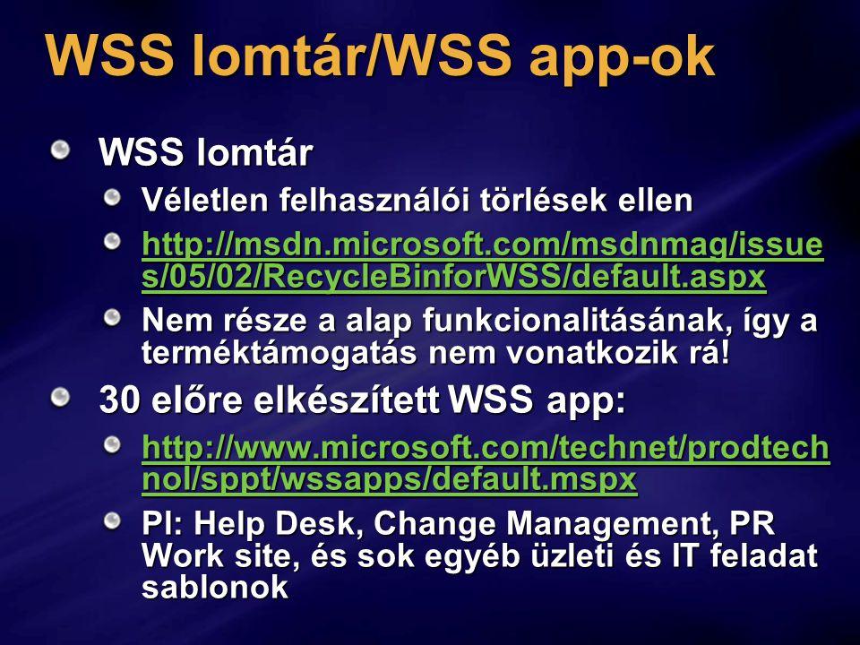 WSS lomtár/WSS app-ok WSS lomtár 30 előre elkészített WSS app: