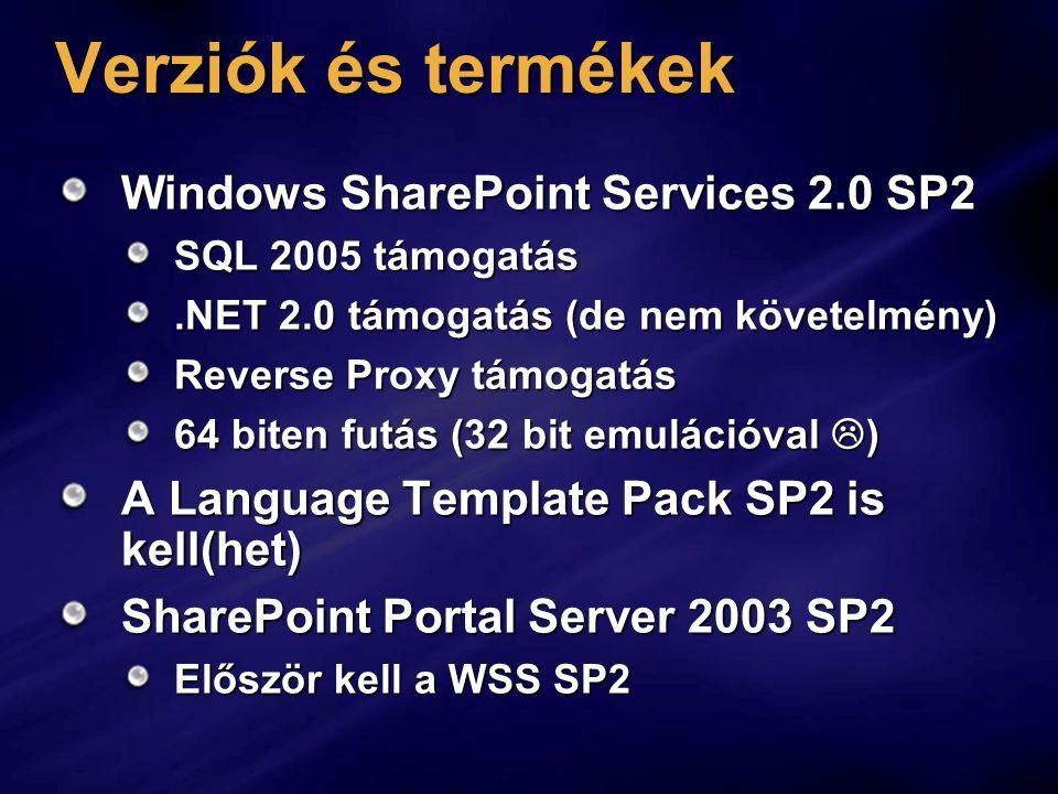 Verziók és termékek Windows SharePoint Services 2.0 SP2