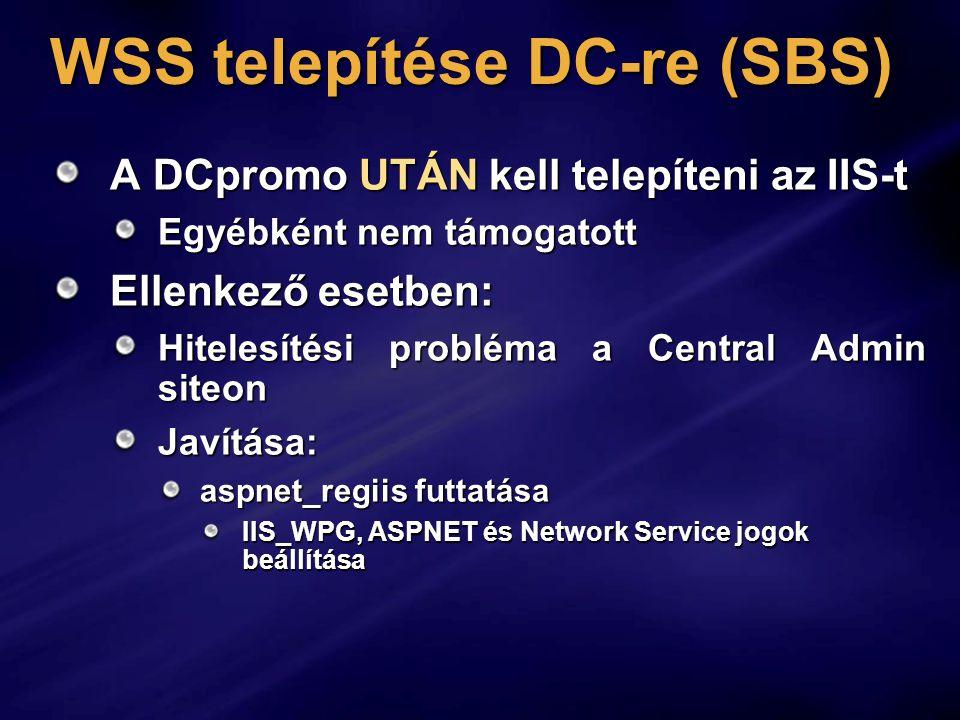 WSS telepítése DC-re (SBS)