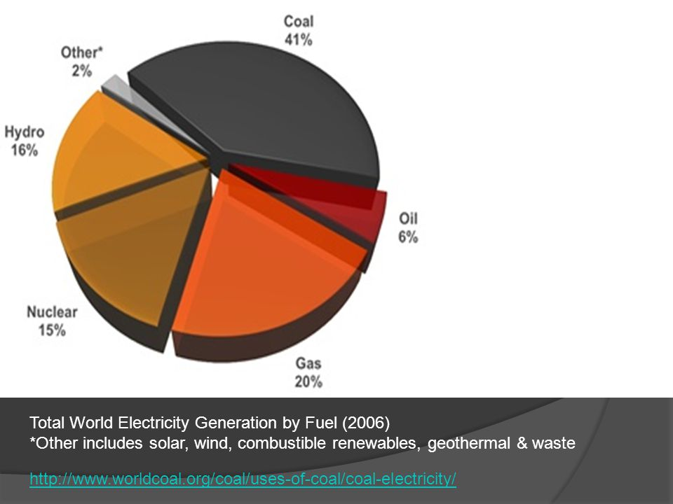 Total World Electricity Generation by Fuel (2006)
