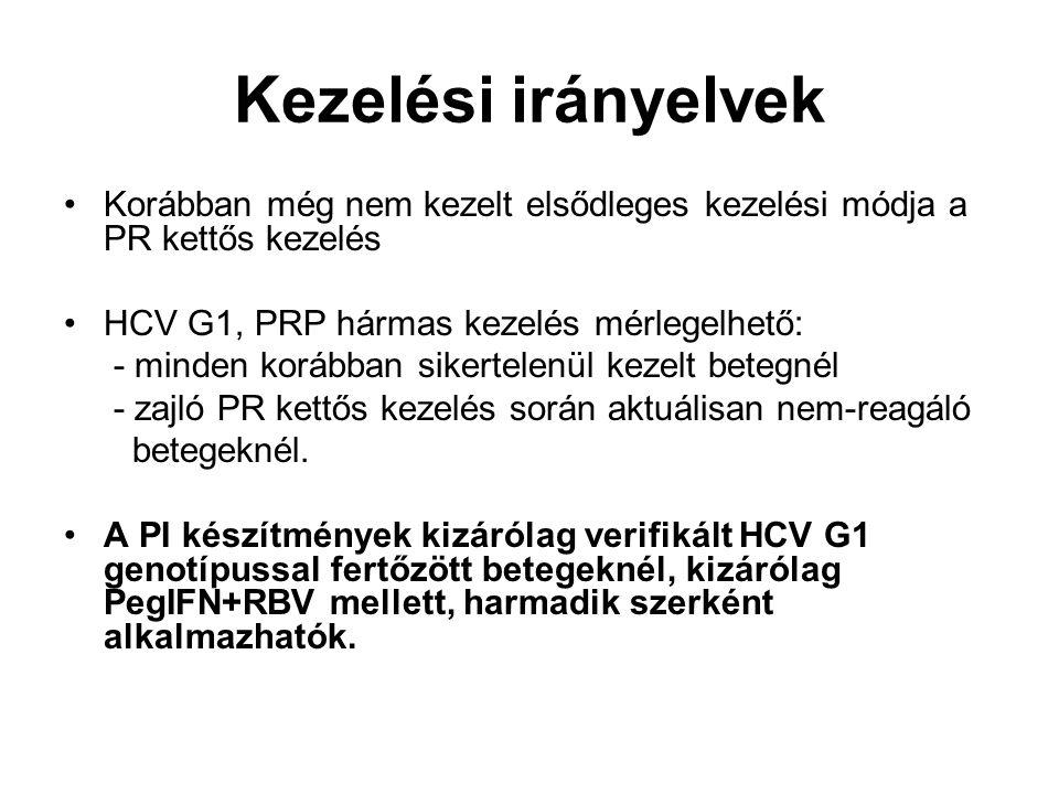 Kezelési irányelvek Korábban még nem kezelt elsődleges kezelési módja a PR kettős kezelés. HCV G1, PRP hármas kezelés mérlegelhető: