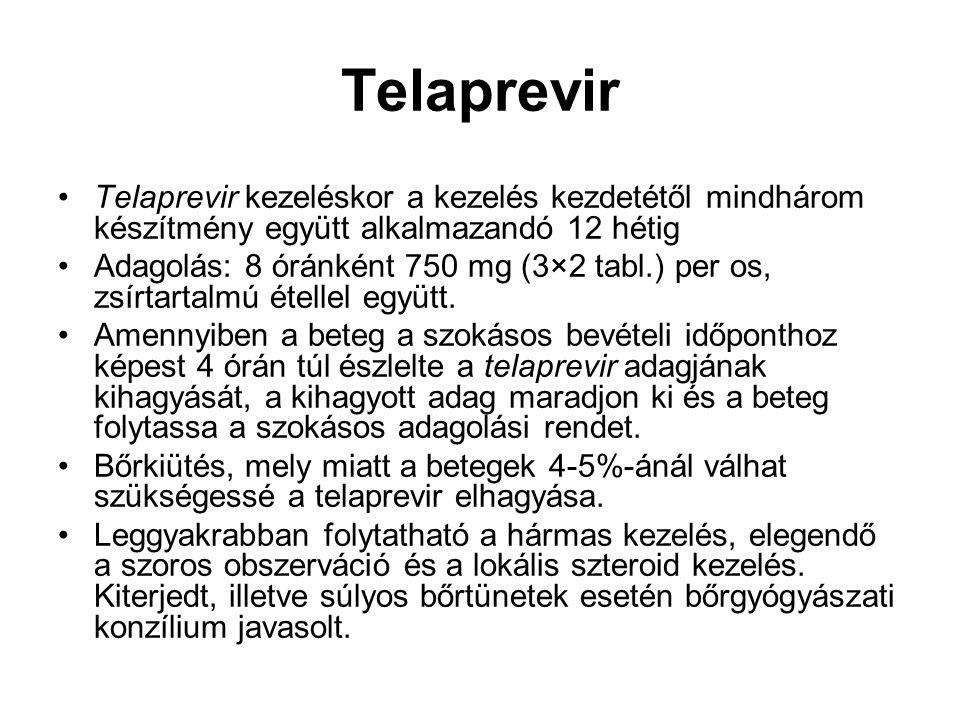 Telaprevir Telaprevir kezeléskor a kezelés kezdetétől mindhárom készítmény együtt alkalmazandó 12 hétig.