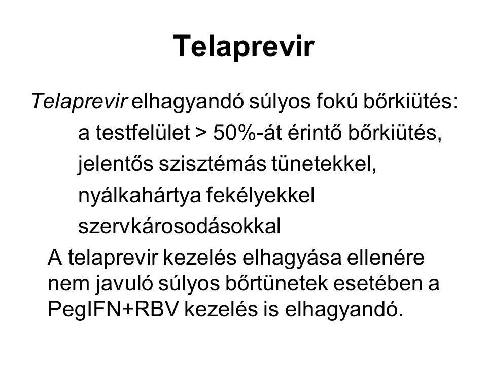 Telaprevir Telaprevir elhagyandó súlyos fokú bőrkiütés: