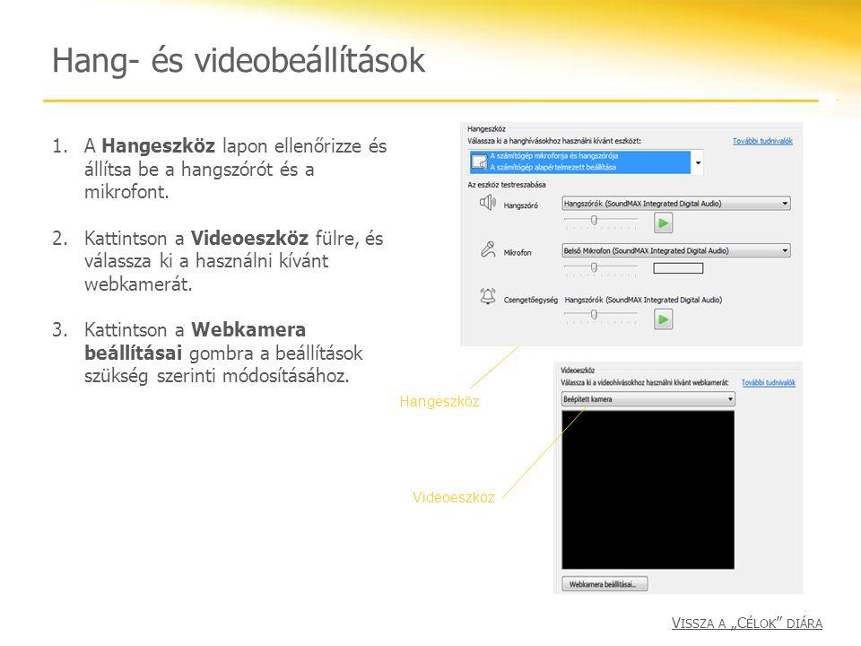 Hang- és videobeállítások