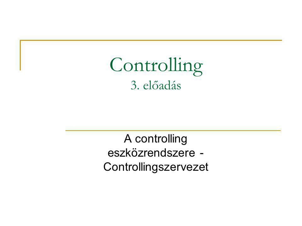 A controlling eszközrendszere - Controllingszervezet