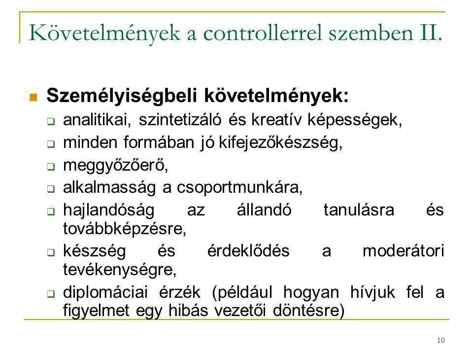 Követelmények a controllerrel szemben II.