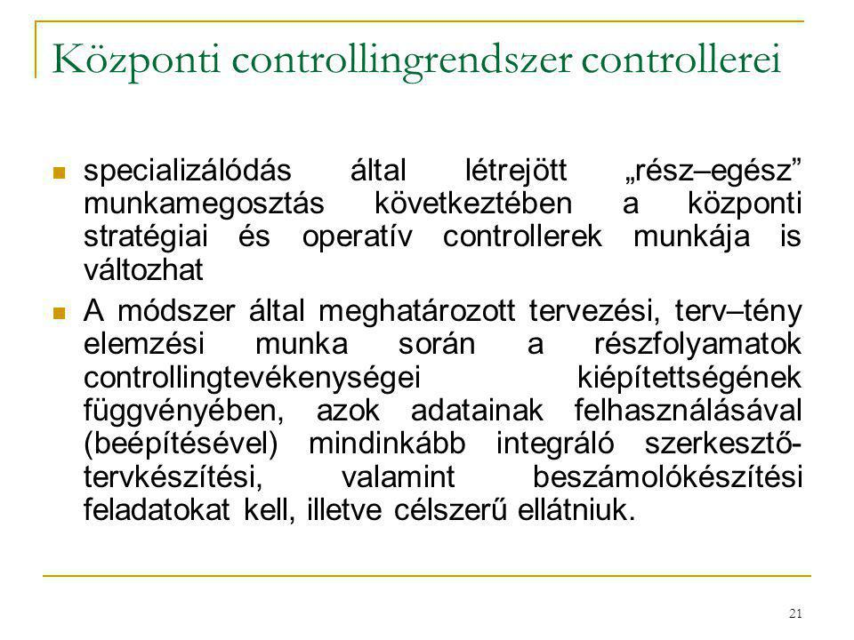 Központi controllingrendszer controllerei