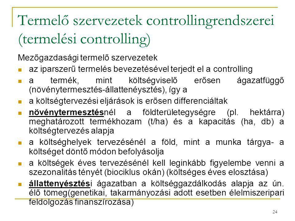 Termelő szervezetek controllingrendszerei (termelési controlling)