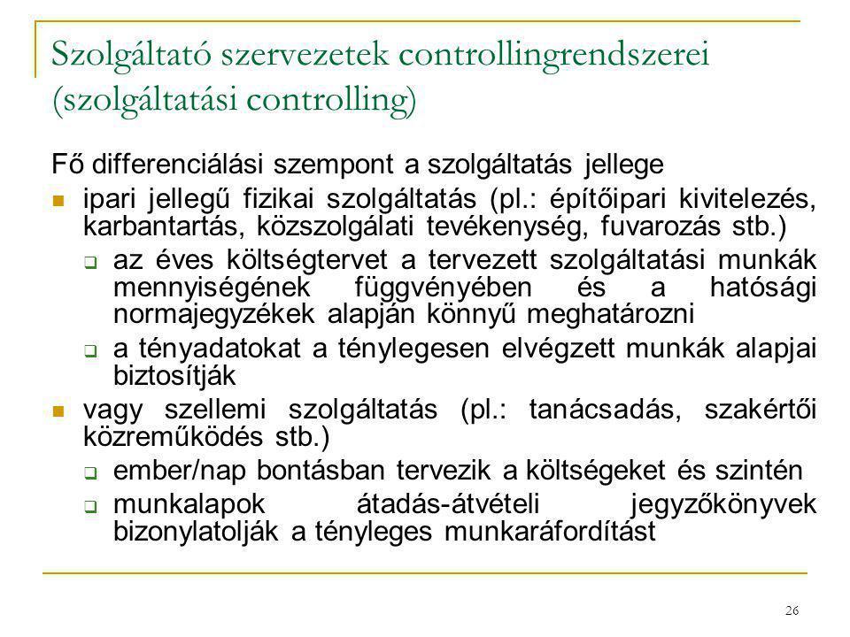 Szolgáltató szervezetek controllingrendszerei (szolgáltatási controlling)
