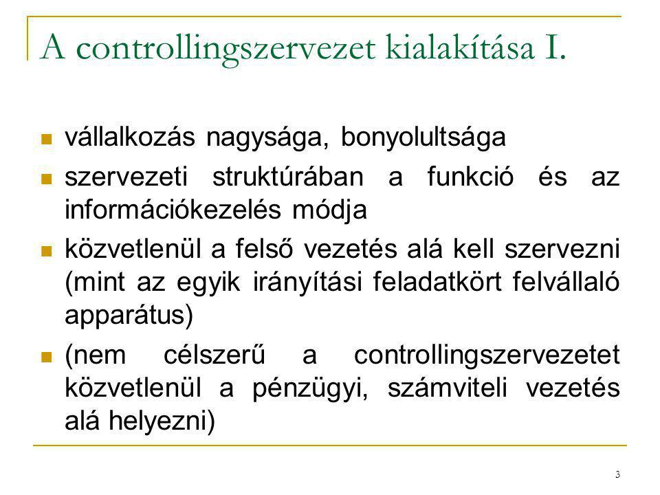 A controllingszervezet kialakítása I.