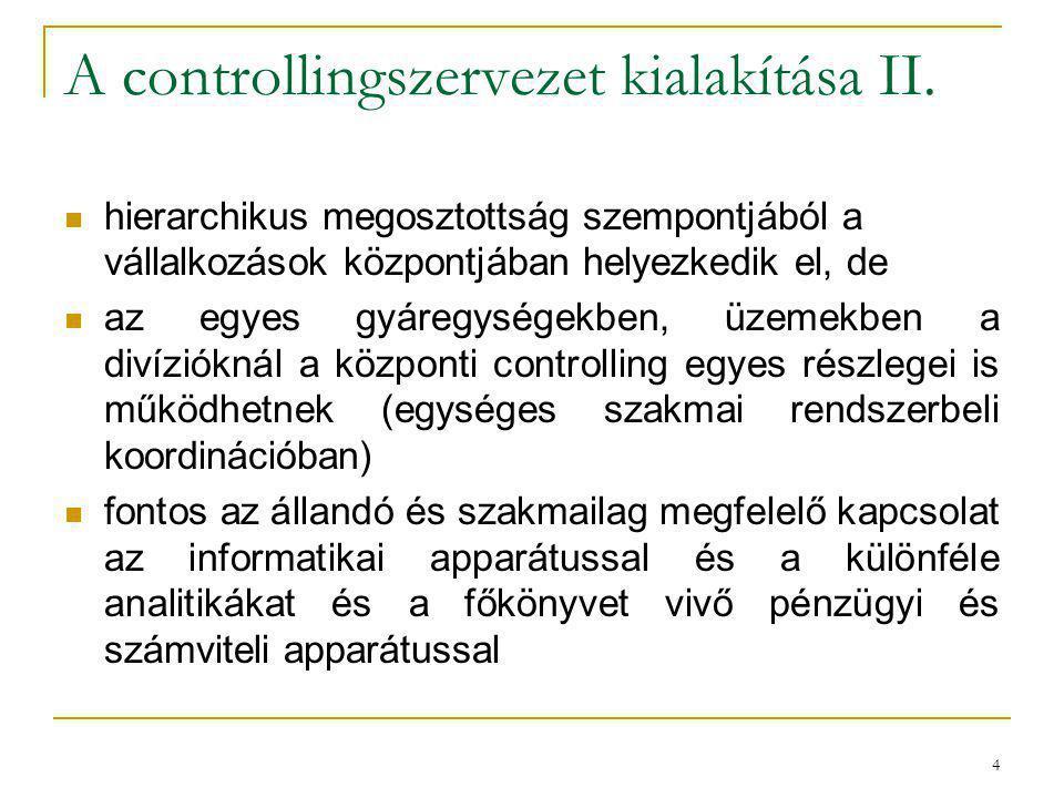 A controllingszervezet kialakítása II.