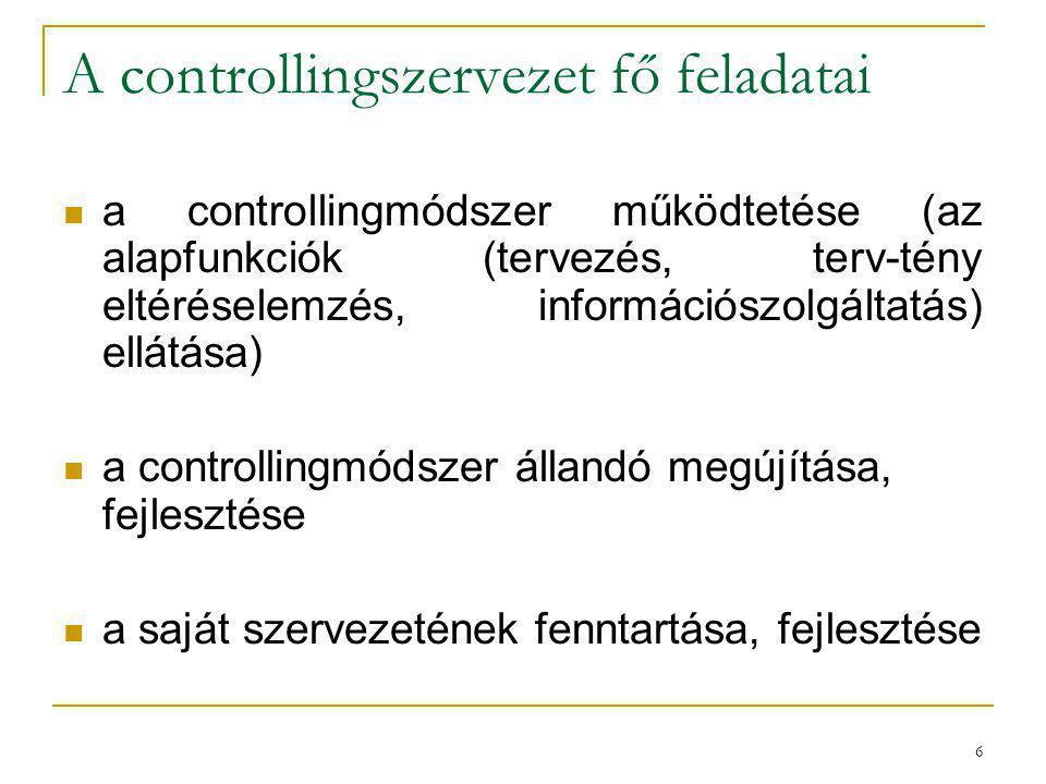 A controllingszervezet fő feladatai