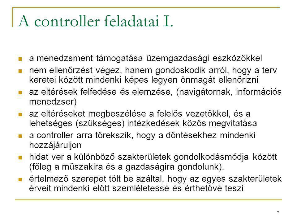 A controller feladatai I.