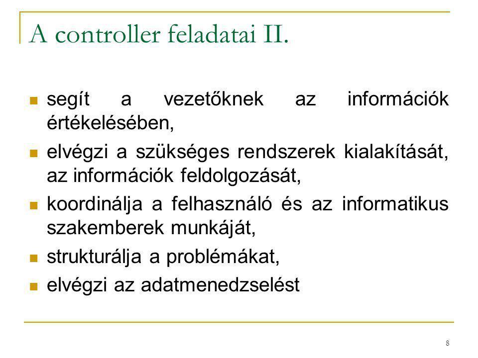 A controller feladatai II.