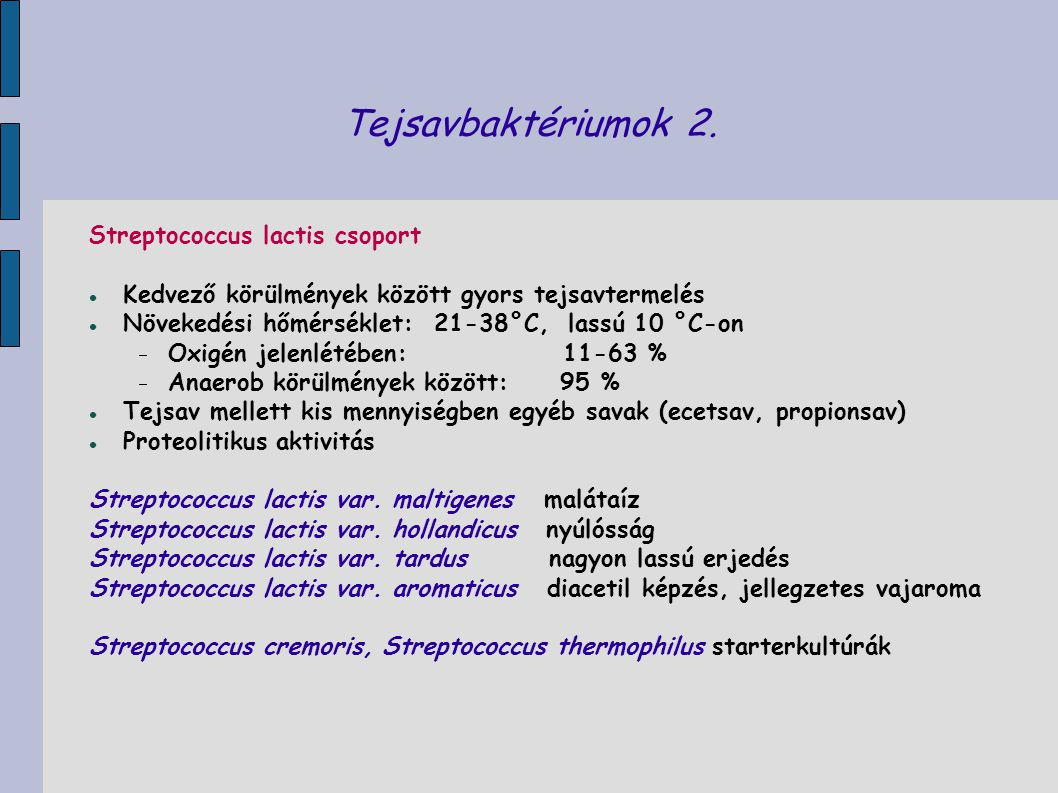 Tejsavbaktériumok 2. Streptococcus lactis csoport
