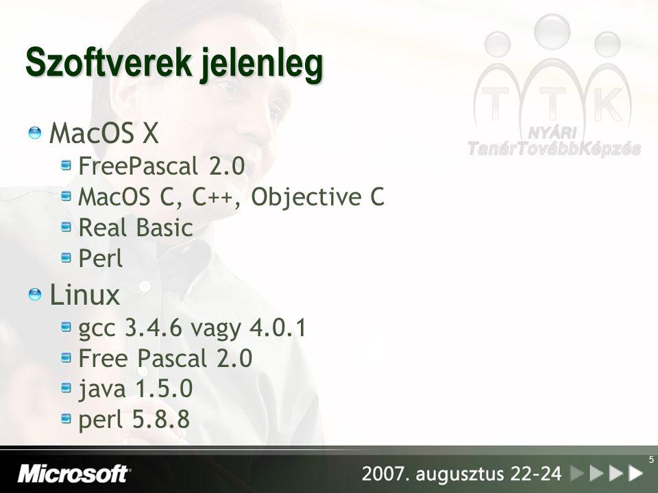 Szoftverek jelenleg MacOS X Linux FreePascal 2.0