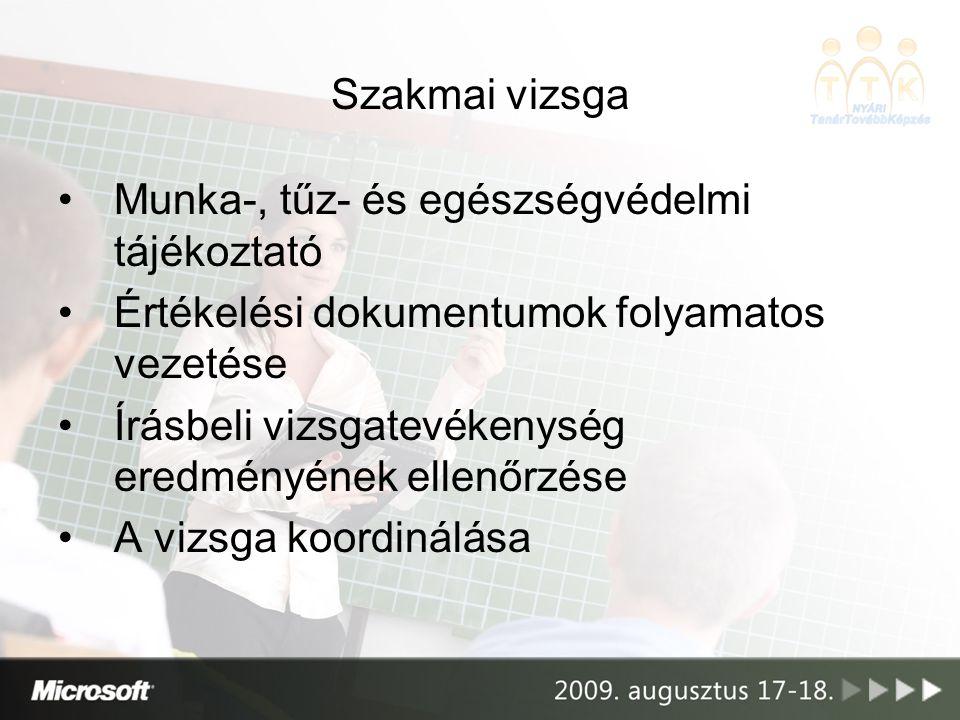 Szakmai vizsga Munka-, tűz- és egészségvédelmi tájékoztató. Értékelési dokumentumok folyamatos vezetése.