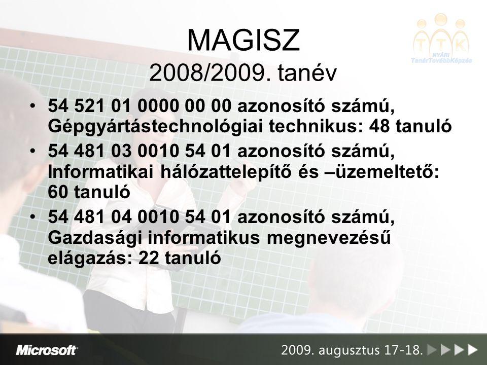MAGISZ 2008/2009. tanév 54 521 01 0000 00 00 azonosító számú, Gépgyártástechnológiai technikus: 48 tanuló.