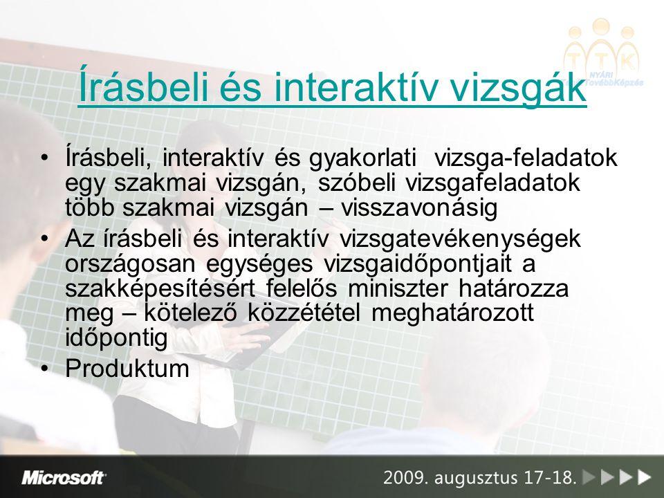 Írásbeli és interaktív vizsgák