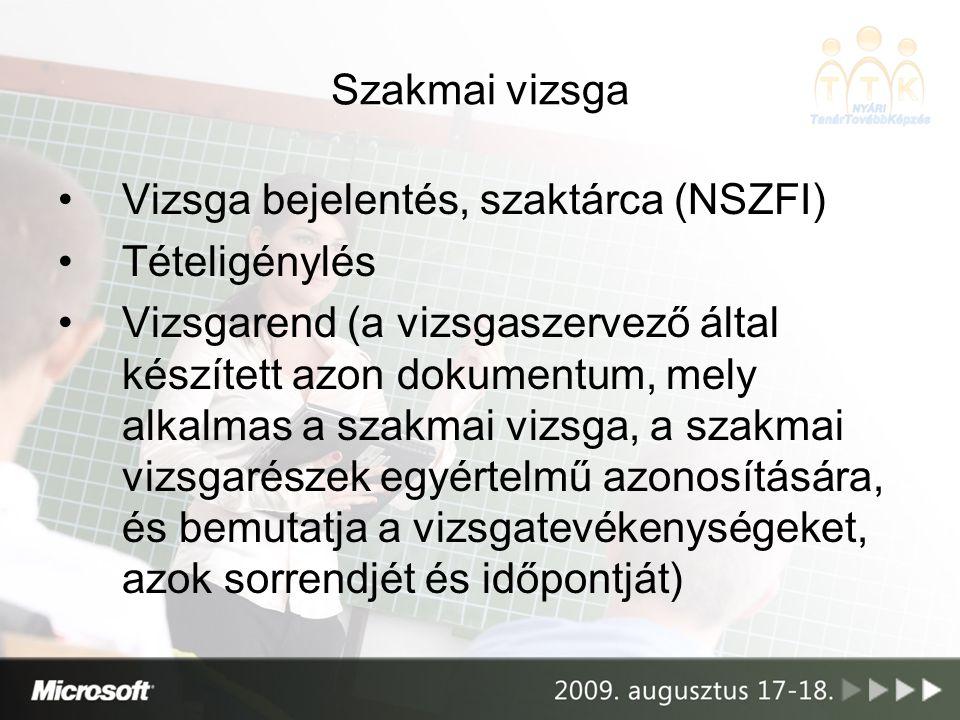 Szakmai vizsga Vizsga bejelentés, szaktárca (NSZFI) Tételigénylés.