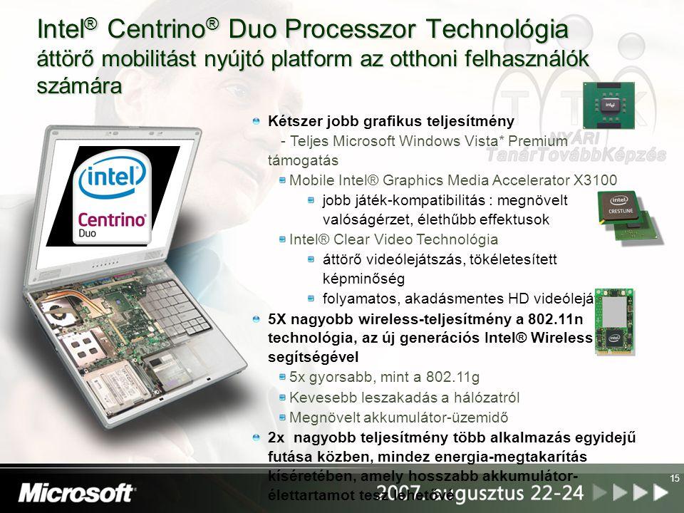Intel® Centrino® Duo Processzor Technológia áttörő mobilitást nyújtó platform az otthoni felhasználók számára
