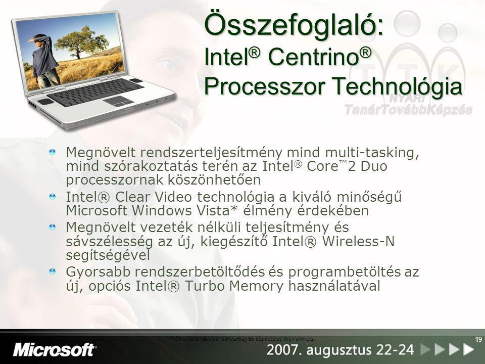 Összefoglaló: Intel® Centrino® Processzor Technológia