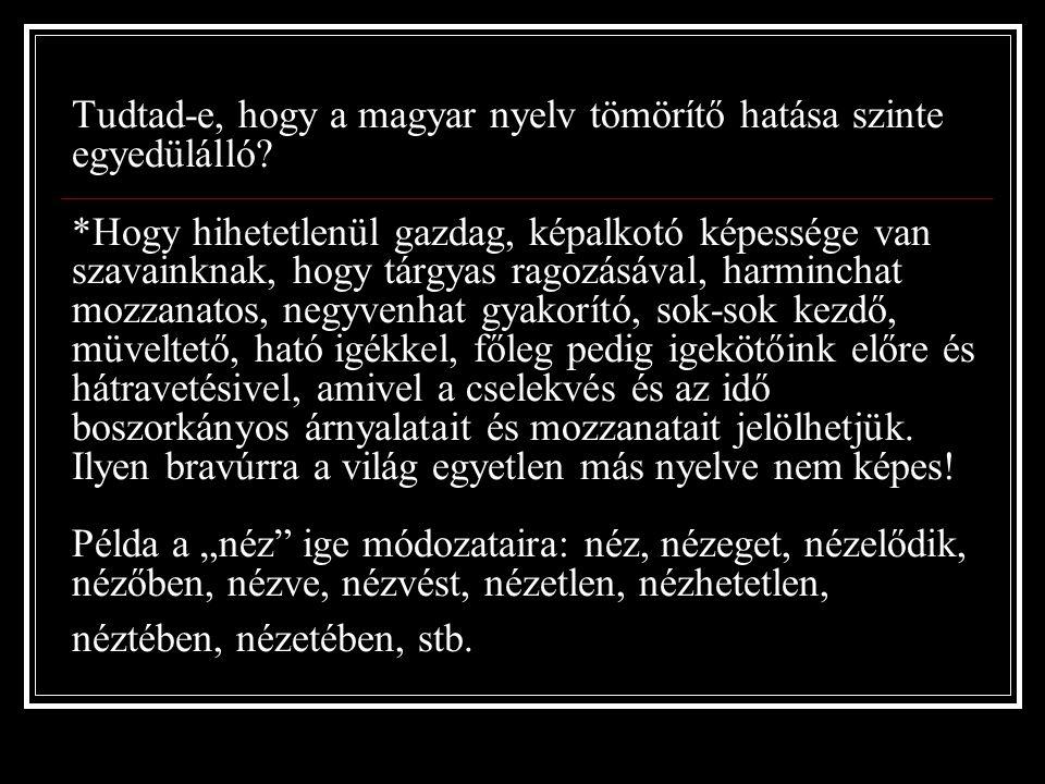 Tudtad-e, hogy a magyar nyelv tömörítő hatása szinte egyedülálló