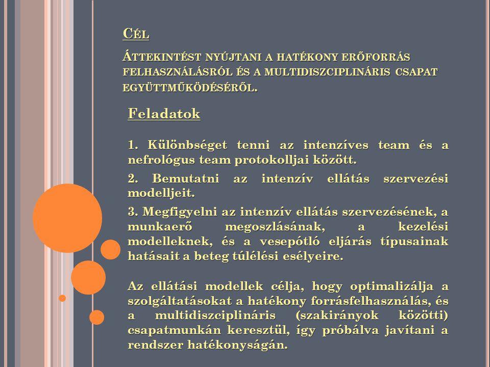 Cél Áttekintést nyújtani a hatékony erőforrás felhasználásról és a multidiszciplináris csapat együttműködéséről.