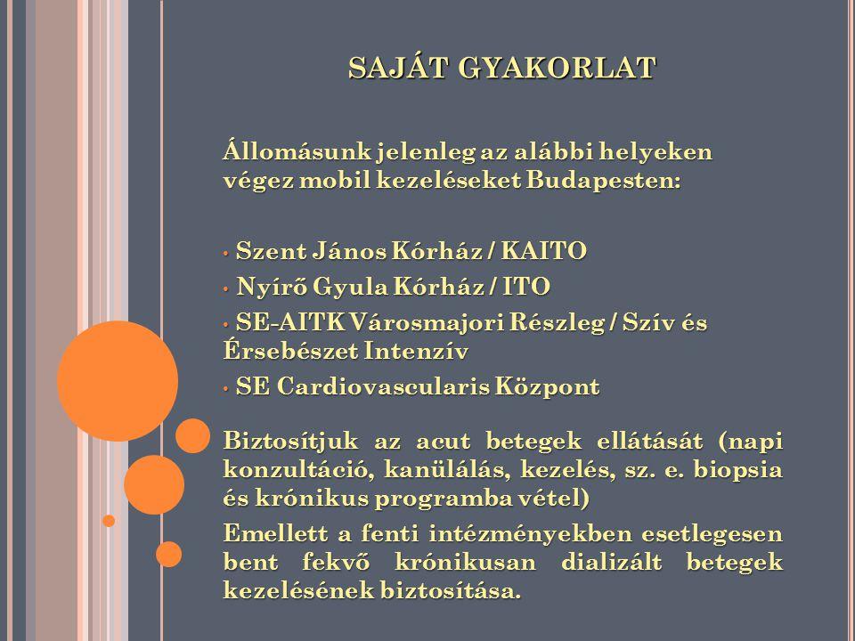 SAJÁT GYAKORLAT Állomásunk jelenleg az alábbi helyeken végez mobil kezeléseket Budapesten: Szent János Kórház / KAITO.