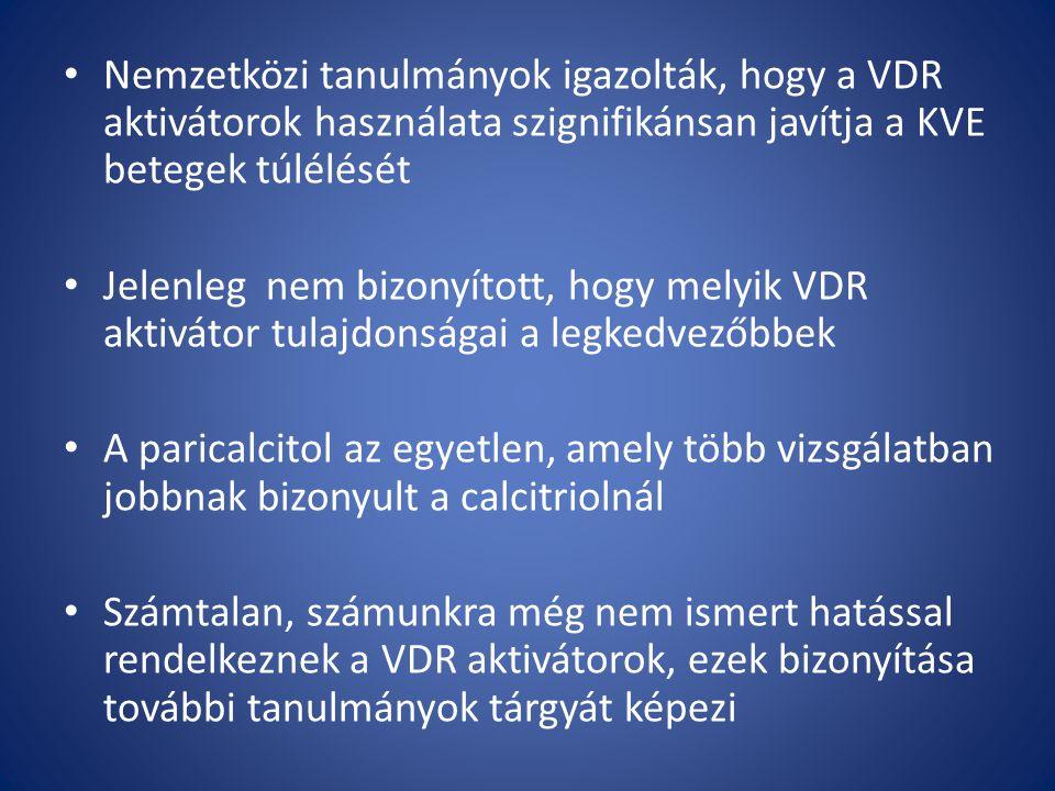 Nemzetközi tanulmányok igazolták, hogy a VDR aktivátorok használata szignifikánsan javítja a KVE betegek túlélését