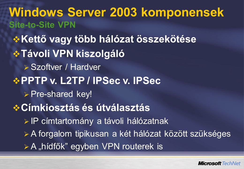 Windows Server 2003 komponensek Site-to-Site VPN