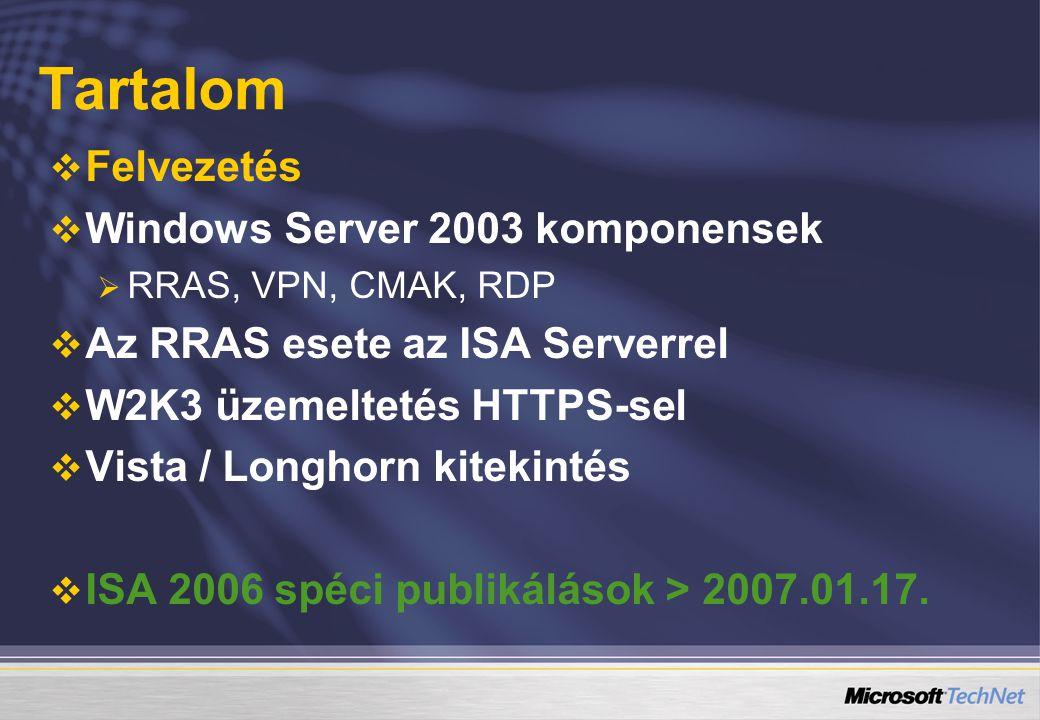 Tartalom Felvezetés Windows Server 2003 komponensek