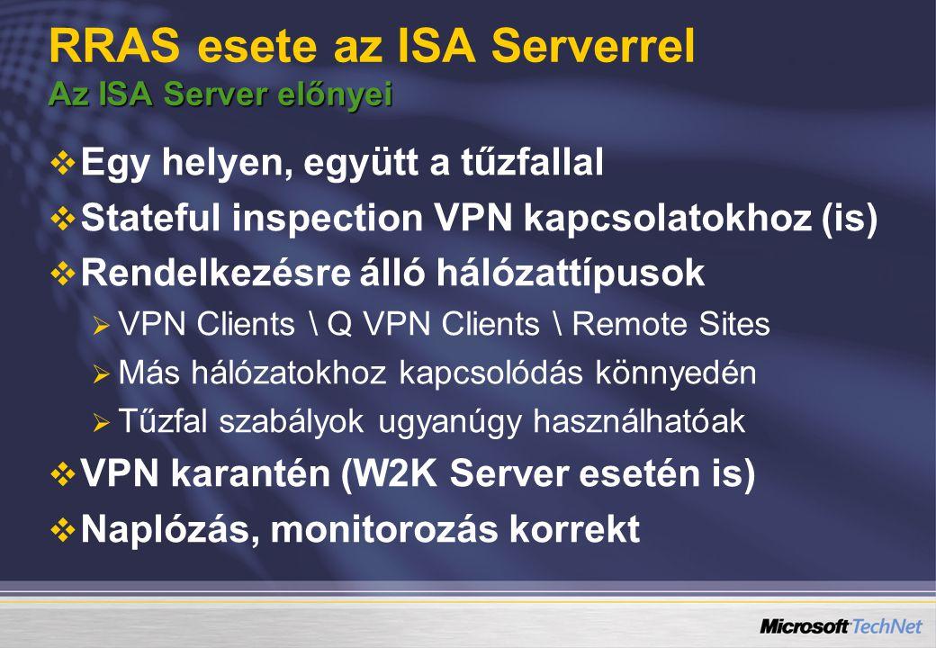 RRAS esete az ISA Serverrel Az ISA Server előnyei
