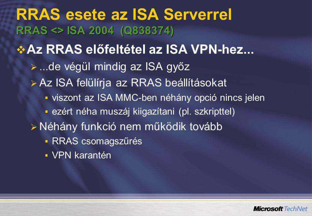RRAS esete az ISA Serverrel RRAS <> ISA 2004 (Q838374)